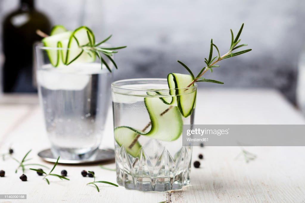 Gin Tonic with rosemary and cucumber : Stock Photo
