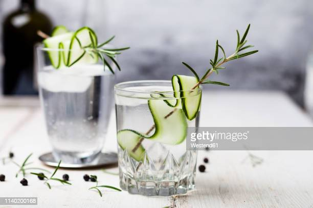 gin tonic with rosemary and cucumber - gurke stock-fotos und bilder