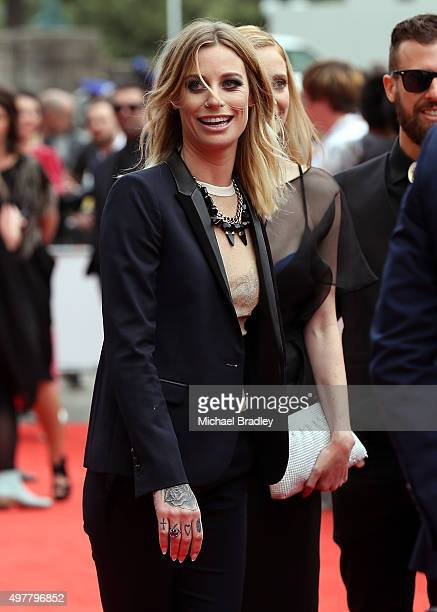 Gin Wigmore arrives at the Vodafone New Zealand Music Awards at Vector Arena on November 19 2015 in Auckland New Zealand