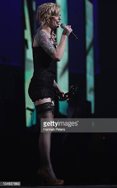 Gin Wigmore celebrates winning the Vodafone Album of the Year during the 2010 Vodafone Music Awards at Vector Arena on October 7 2010 in Auckland New...