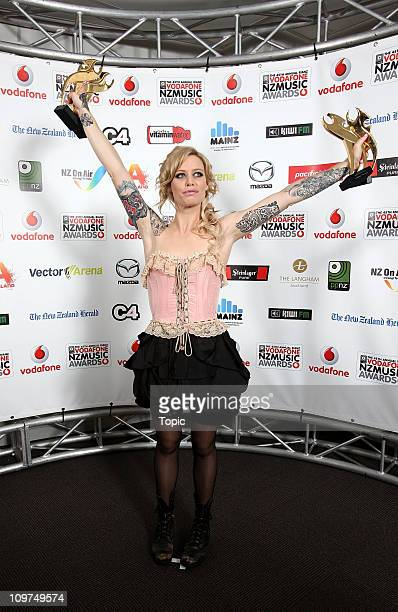 Gin Wigmore winner of theVodafone Album of the Year Pacific Blue Breakthrough Artist of the Year Best pop Album and Highest Selling NZ Album poses...