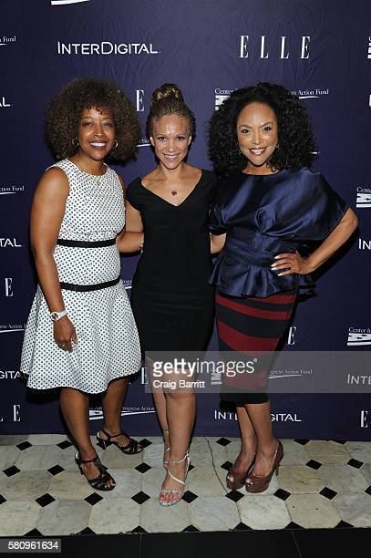 Gina Adams Melissa Harris Perry and Lynn Whitfield attend a reception hosted by ELLE EditorinChief Robbie Myers and Center for American Progress...