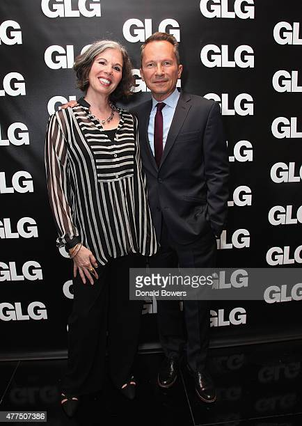 Gina Barnett and Richard Socarides Head of Public Affiars at GLG attend the book release party for Gina Barnett's Play the Part at GLG on June 17...