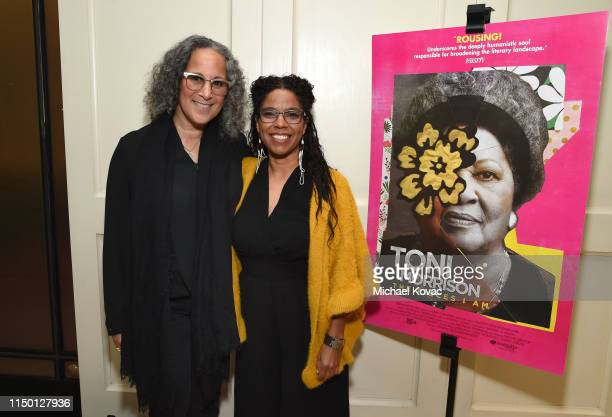 Gina Belafonte and Gaye Theresa Johnson attend the Los Angeles premiere of Toni Morrison The Pieces I Am on June 14 2019 in West Hollywood California