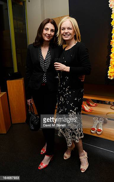 Gina Bellman and Mariella Frostrup attend a cocktail party for shoe designer Rupert Sanderson hosted by Mariella Frostrup at his Bruton Place store...