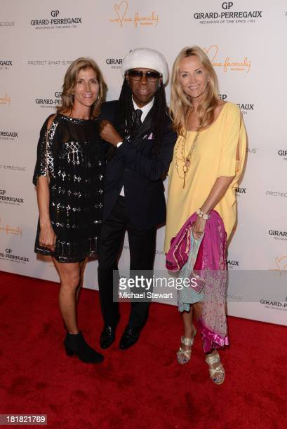 Gina Bradley Nile Rodgers and Bonnie Pfeifer Evans attend the GirardPerregaux launch of the Mission of Mermaids watch with Susan and David...