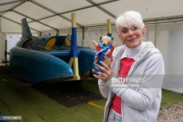 Gina Campbell the daughter of the late Donald Campbell CBE poses with Whoppit the teddy bear mascot belonging to her father Donald Campbell's ahead...