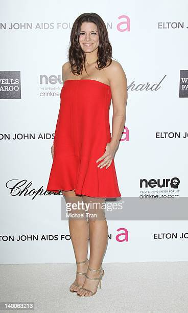 Gina Carano arrives at the 20th Annual Elton John AIDS Foundation Academy Awards viewing party held across the street from the Pacific Design Center...