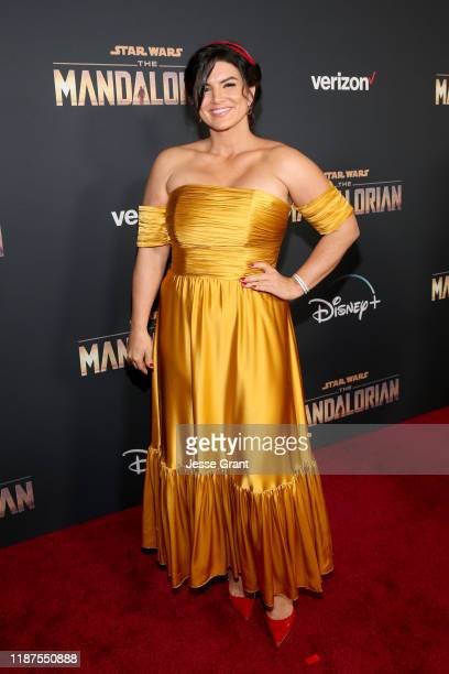 Gina Carano arrives at the premiere of Lucasfilm's firstever liveaction series The Mandalorian at the El Capitan Theatre in Hollywood Calif on...