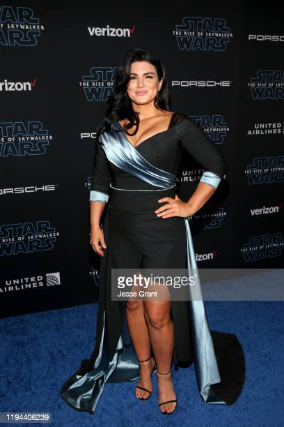 """Gina Carano arrives for the World Premiere of """"Star Wars: The Rise of Skywalker"""", the highly anticipated conclusion of the Skywalker saga on December..."""