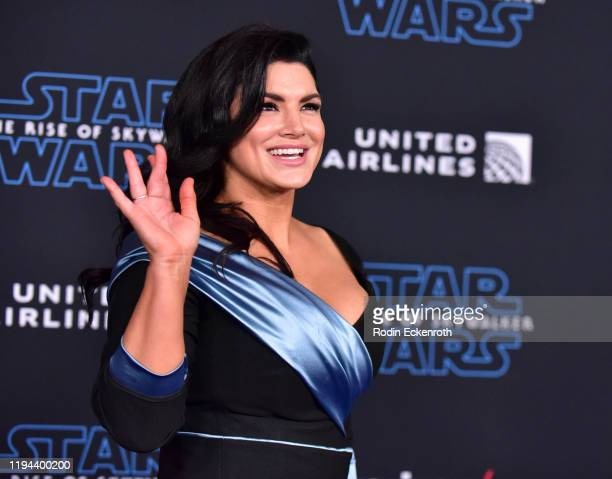 """Gina Carano attends the Premiere of Disney's """"Star Wars: The Rise Of Skywalker"""" on December 16, 2019 in Hollywood, California."""
