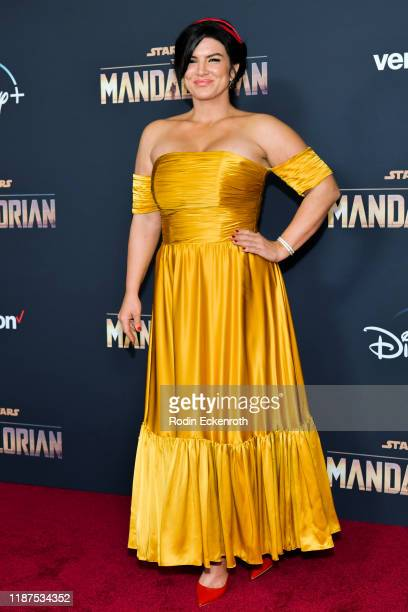 Gina Carano attends the Premiere of Disney's The Mandalorian at El Capitan Theatre on November 13 2019 in Los Angeles California