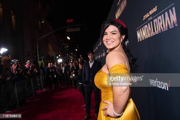 Gina Carano attends the premiere of Disney's 'The Mandalorian' at El Capitan Theatre on November 13 2019 in Los Angeles California