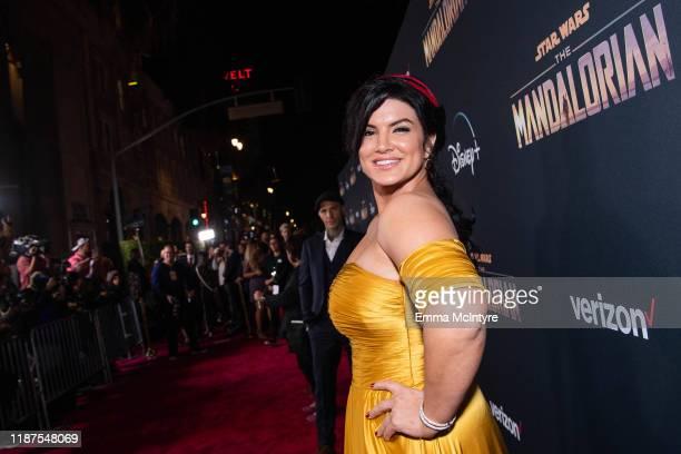 Gina Carano attends the premiere of Disney+'s 'The Mandalorian' at El Capitan Theatre on November 13, 2019 in Los Angeles, California.