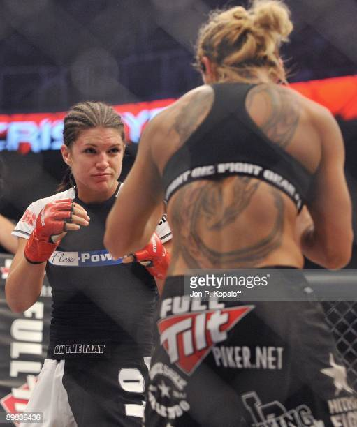 Gina Carano battles Cris Cyborg during their Middleweight Championship fight at Strikeforce: Carano vs. Cyborg on August 15, 2009 in San Jose,...