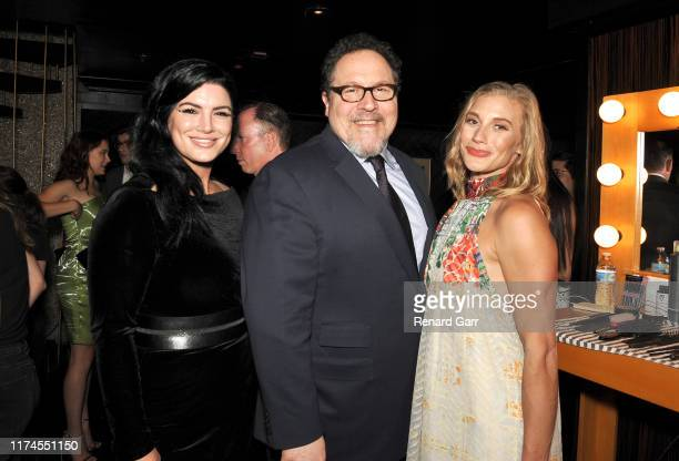 Gina Carano Jon Favreau and Katie Sackoff attend the 45th Annual Saturn Awards at Avalon Theater on September 13 2019 in Los Angeles California