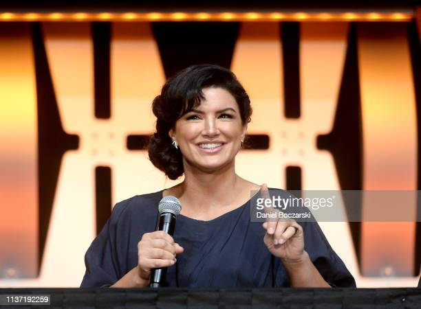 Gina Carano onstage during The Mandalorian panel at the Star Wars Celebration at McCormick Place Convention Center on April 14 2019 in Chicago...