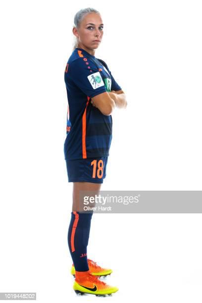Gina Chmielinski of Turbine Potsdam poses during the Allianz Frauen Bundesliga Club Tour at on August 17 2018 in Potsdam Germany