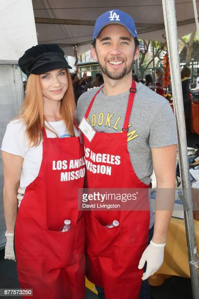 Gina Comparetto and Billy Flynn are seen at the Los Angeles Mission Thanksgiving Meal for the homeless at the Los Angeles Mission on November 22 2017...