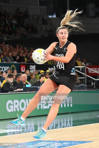 Gina Crampton of the Silver Ferns catches the ball during the Quad Series International Test match between the Australian Diamonds and the New...