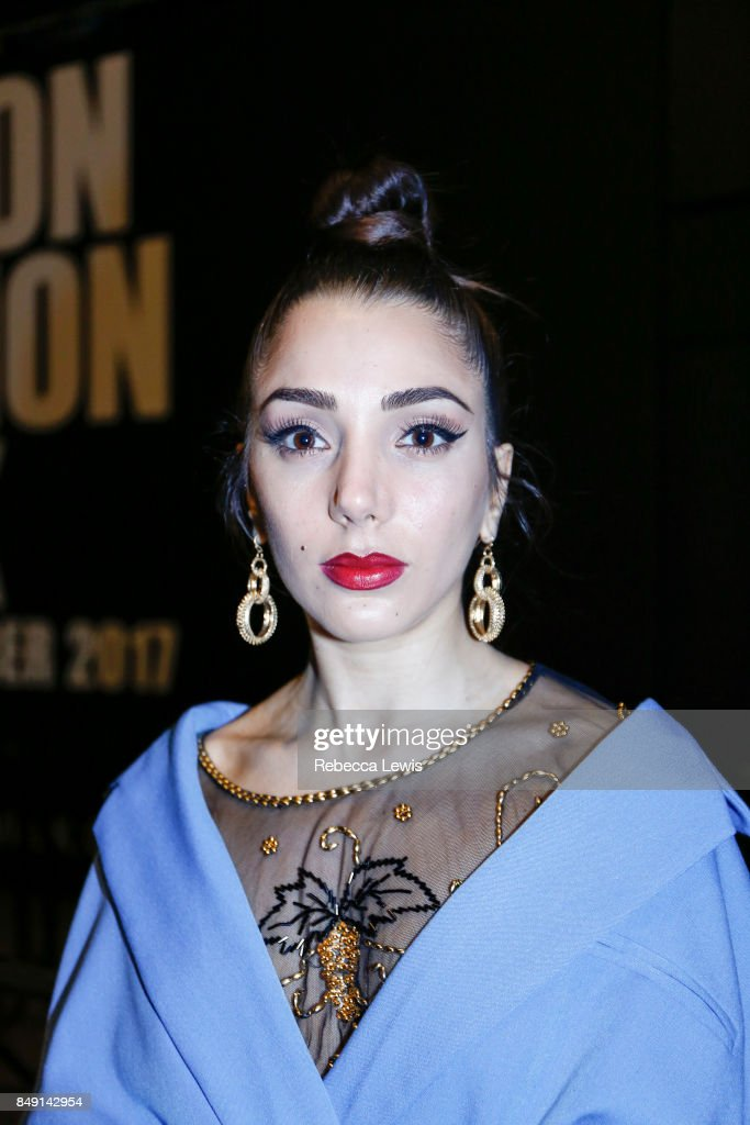 Gina Dirawi attends Ashish presentation during London Fashion Week September 2017 on September 18, 2017 in London, England.