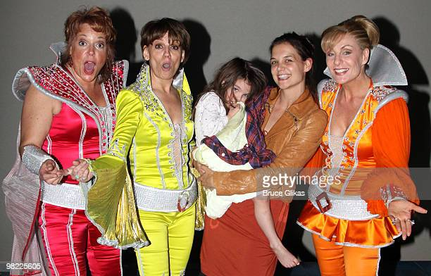 COVERAGE *** Gina Ferrall Beth Leavel Suri Cruise Katie Holmes and Judy McLane pose backstage at the hit musical 'Mamma Mia' on Broadway at The...