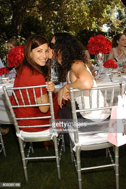 Gina Gershon and Amanda Demme attend Pamela Skaist Levy and Gela Nash Taylor host an Afternoon Tea for Christopher Bailey of Burberry at Private...