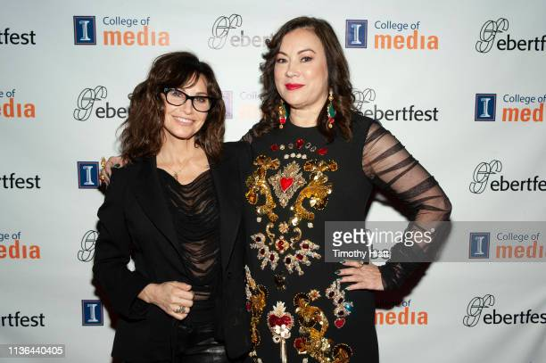 Gina Gershon and Jennifer Tilly attend day two of Ebertfest on April 11, 2019 in Champaign, Illinois.