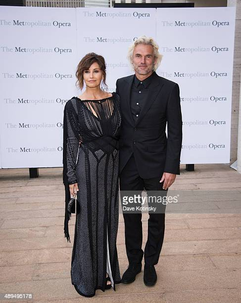 Gina Gershon and Robert Dekeyser attends the Metropolitan Opera 20152016 season opening night of Otello at The Metropolitan Opera House on September...