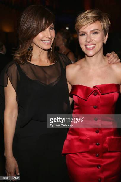 Gina Gershon and Scarlett Johansson attends The 2017 Museum Gala at American Museum of Natural History on November 30 2017 in New York City