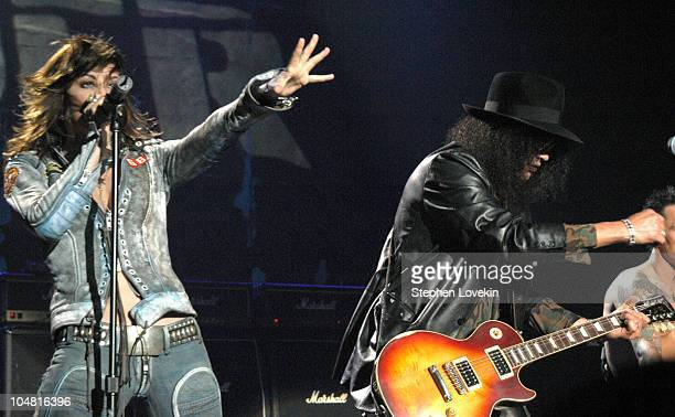 Gina Gershon and Slash during MTV Rock The Vote 10th Annual Patrick Lippert Awards at Roseland Ballroom in New York NY United States