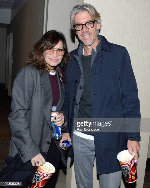 "Gina Gershon and Stephen Gaghan attend The Cinema Society & Monkey 47 Host A Special Screening Of Sony Pictures Classics' ""Greed"" at Cinepolis..."