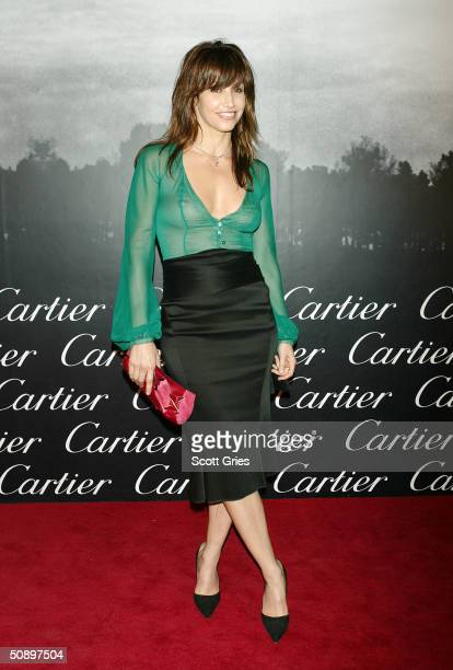 Gina Gershon arrives at Santos Night the 100 Year Anniversary of the Cartier Santos Watch at The Armory May 25 2004 in New York City