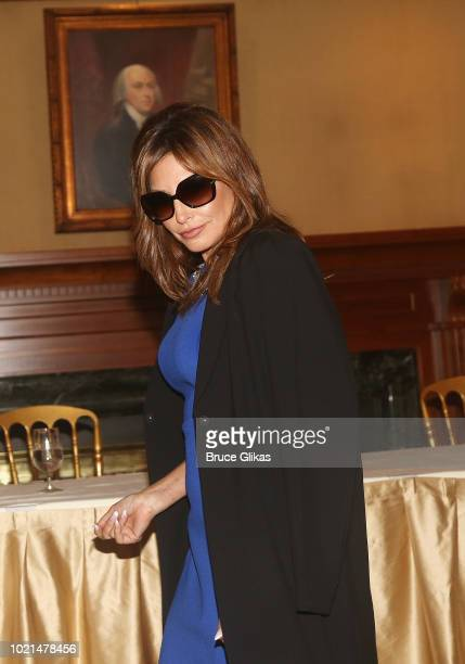 Gina Gershon as Melania Trump poses at The 1st Annual Trump Family Special OffBroadway Press Conference at The Princeton Club of New York on August...