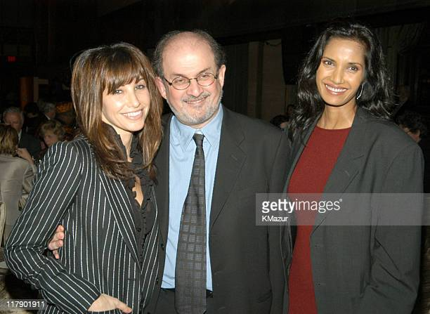 Gina Gershon Salman Rushdie and Padma Lashki during Rolex Mentor Protege Arts Initiative at State Theater at Lincoln Center in New York City New York...