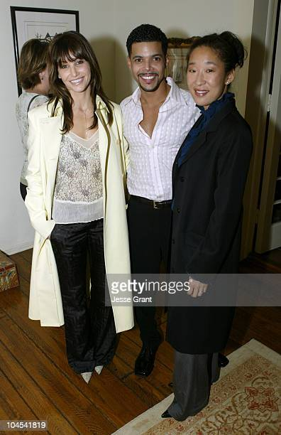 Gina Gershon Wilson Cruz and Sandra Oh during Outfest Celebrates Gay Hollywood at The home of Paul Colichman in Bel Air California United States
