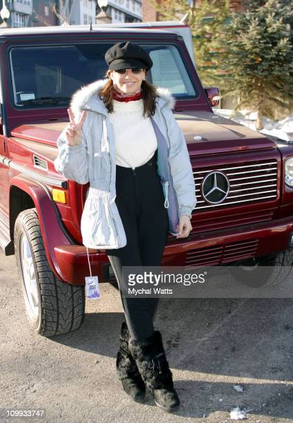 Gina Gershon with the MercedesBenz G500 during 2003 Park City Mercedes Benz in Park City in Park City Utah United States
