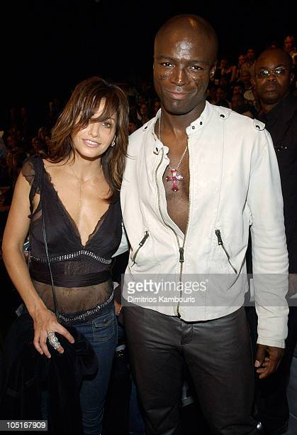 Gina Gerson and Seal during MercedesBenz Fashion Week Spring 2004 Marc Jacobs Front Row at New York State Armory in New York City New York United...