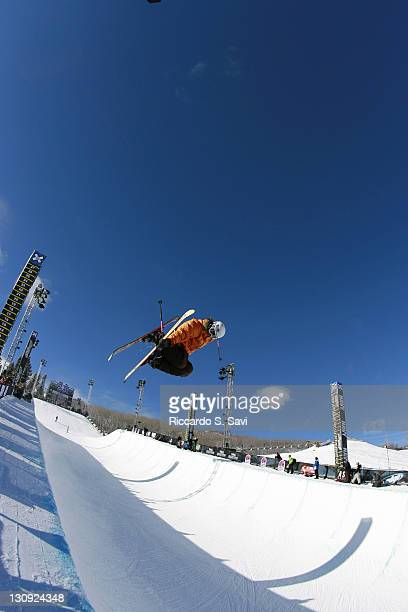 Gina Gmeiner in action during the Skiing Superpipe Men's and Women's practice at the 2006 Winter X Games 10 in Aspen Colorado on January 30 2006
