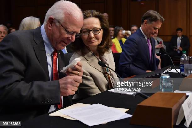 Gina Haspel arrives to testify next to former US Senator Saxby Chambliss and Sen Evan BayhD-IN before the Senate Intelligence Committee on her...