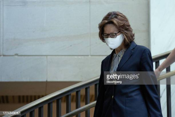 Gina Haspel director of the Central Intelligence Agency arrives for a closed door briefing with other top intelligence officials at the US Capitol in...