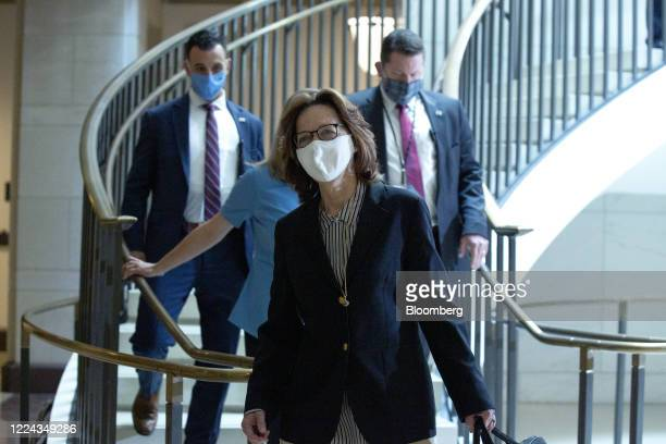 Gina Haspel director of the Central Intelligence Agency center arrives for a closed door briefing with other top intelligence officials at the US...