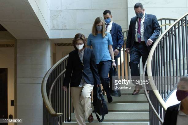 Gina Haspel director of the Central Intelligence Agency left arrives for a closed door briefing with other top intelligence officials at the US...