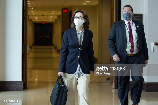 Gina Haspel director of the Central Intelligence Agency left departs a closed door briefing with other top intelligence officials at the US Capitol...