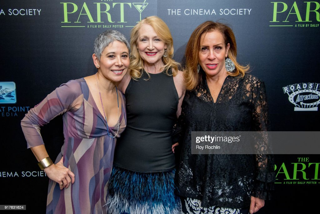 Gina Jarrin, Patricia Clarkson and Deborah Freid attends the screening of 'The Party' hosted by Roadside Attractions and Great Point Media with The Cinema Society at Metrograph on February 12, 2018 in New York City.