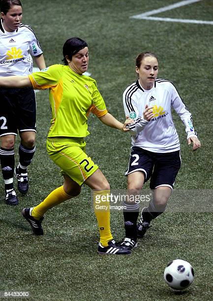 Gina Lewandowski of 1 FFC Frankfurt in action against Christina Graf of SC 07 Bad Neuenahr during the THome DFB Indoor Cup at the Boerdelandhalle on...