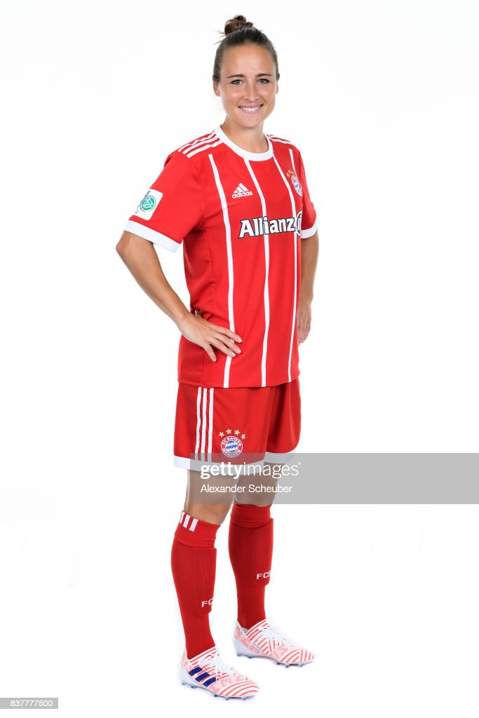 Gina Lewandowski of Bayern Muenchen poses during the Allianz Frauen Bundesliga Club Tour at FC Bayern Muenchen Campus on August 20, 2017 in Munich, Germany.