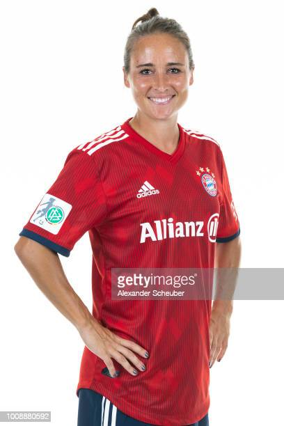 Gina Lewandowski of Bayern Muenchen poses during the FC Bayern Muenchen Women's team presentation at FC Bayern Muenchen Campus on July 30 2018 in...