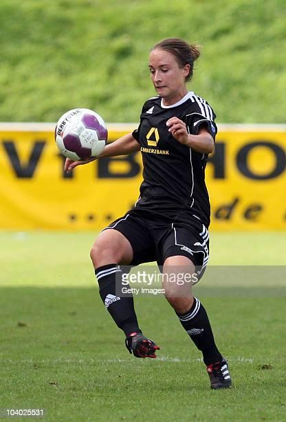 Gina Lewandowski of Frankfurt controls the ball during the Women's bundesliga match between FCR Duisburg and FFC Frankfurt at the PCCStadium on...