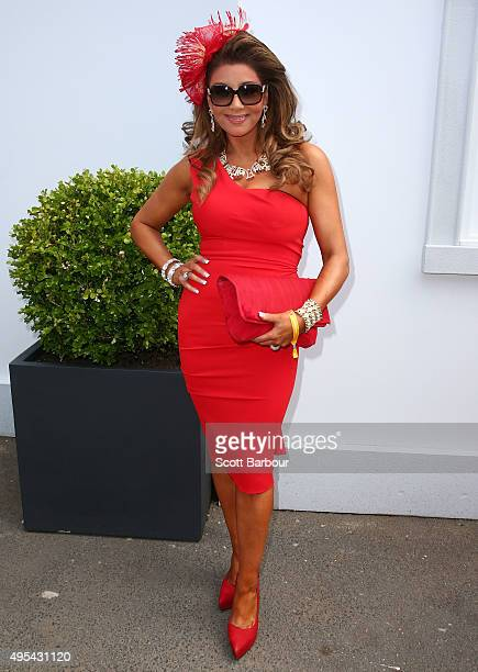 Gina Liano from The Real Housewives of Melbourne poses on Melbourne Cup Day at Flemington Racecourse on November 3 2015 in Melbourne Australia